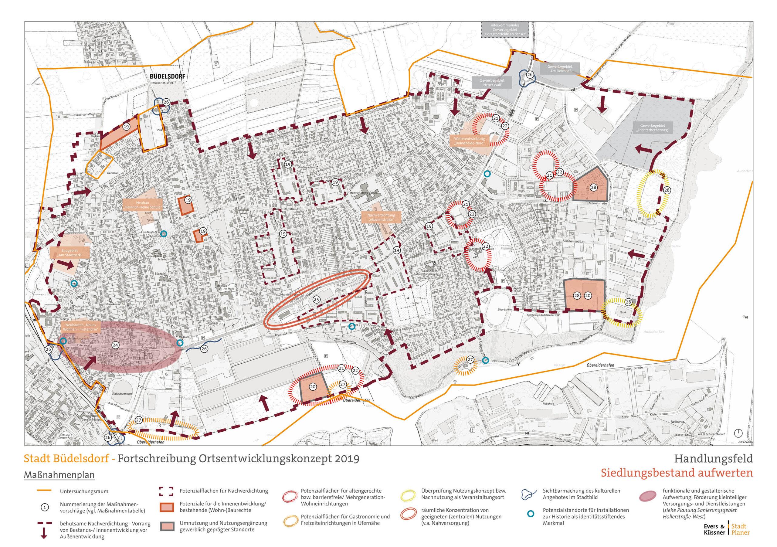 Neuaufstellung des Ortsentwicklungskonzepts, Stadt Büdelsdorf - Massnahmenplan Siedlung