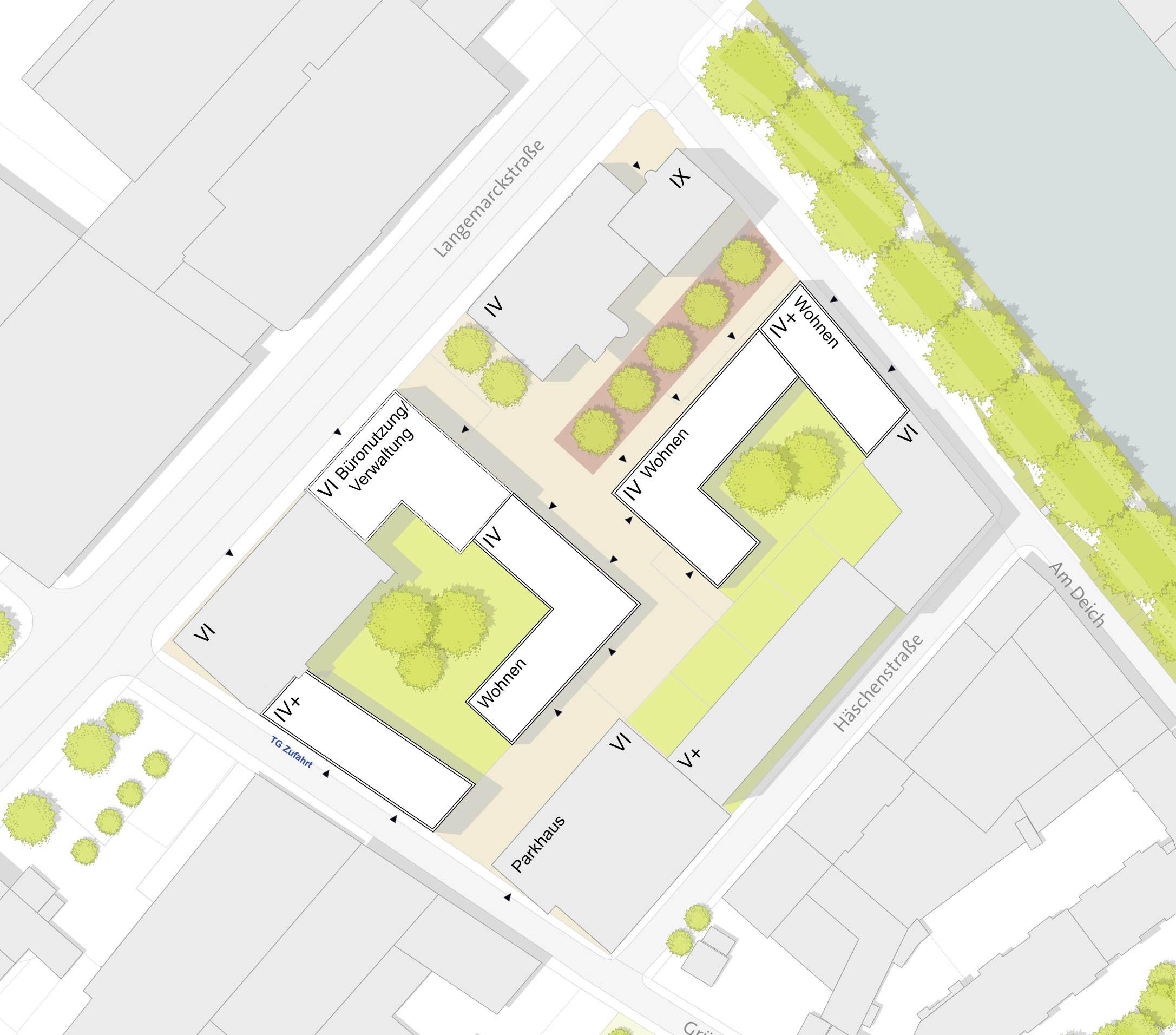 Baumassenstudie für das Mondeléz-Gelände, Stadt Bremen