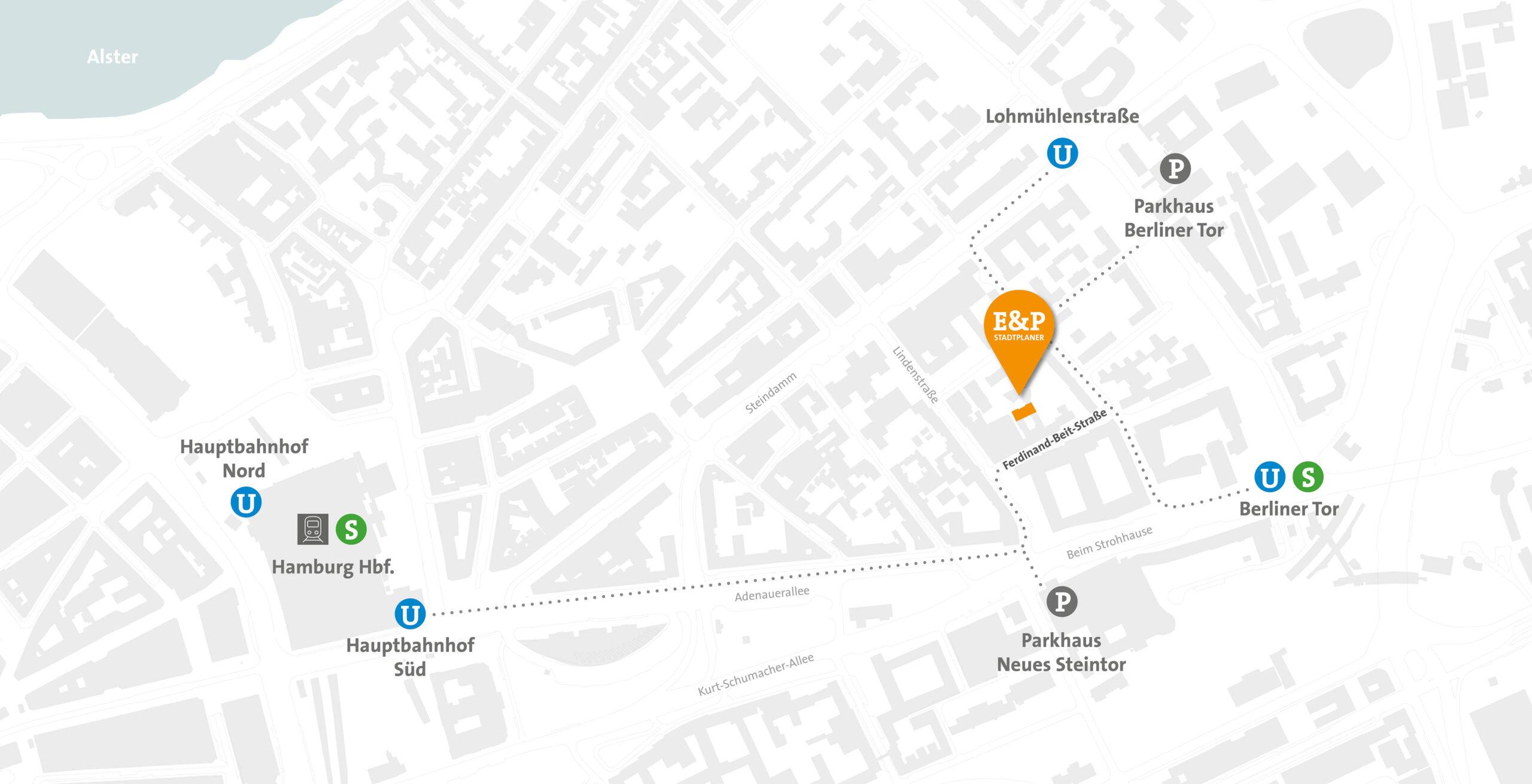 Evers und Partner - Stadtplaner - Anfahrtskizze